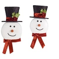 Pack of 12 Decorative Glitter Foam Snowman Head Ornaments