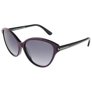 Tom Ford FT0342/S 83F Priscila Pink/Blue Stripe Cateye Sunglasses