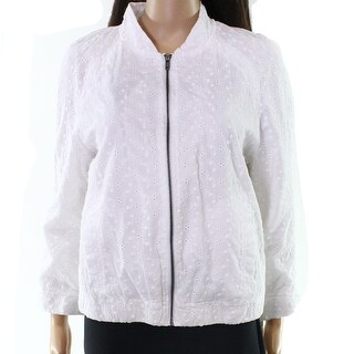 Live a Little NEW White Women's Medium M Eyelet Knit Zip Front Jacket