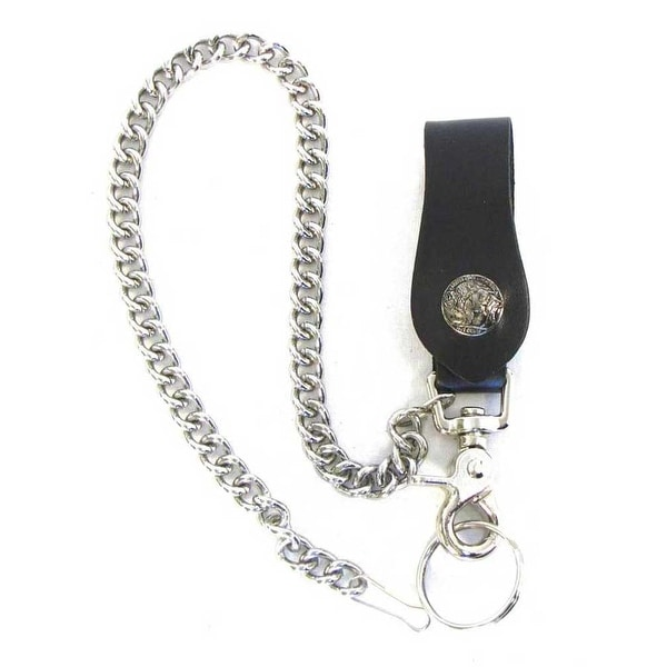 "Mascorro Leather Buffalo Nickel Keychain Fob with Metal Biker Chain, Blk K18-UB - 3.5"" x 1.5"""