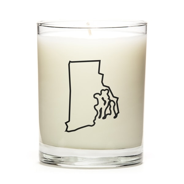 State Outline Soy Wax Candle, Rhode-Island State, Fresh Linen