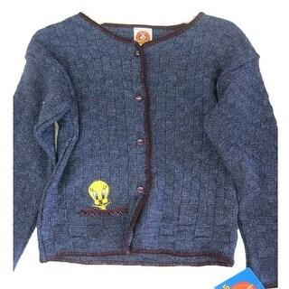 Warner Bros Little Girls Navy Blue Looney Tunes Tweety Design Knit Sweater 4-6X