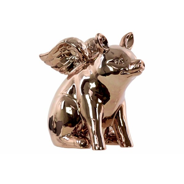 Winged Pig Sitting Figurine In Ceramic, Chrome Gold