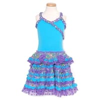GeGe Toddler Girls Size 2T Turquoise Purple Ruffle Sleeveless Dress