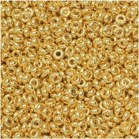 Toho Demi Round Seed Beads, Thin 11/0 (2.2mm) Size, 7.8 Grams, 712 Metallic Gold