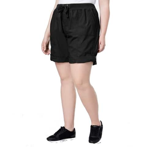 Calvin Klein Womens Shorts Black Size 1X Plus Roll-Hem Bermuda Walking