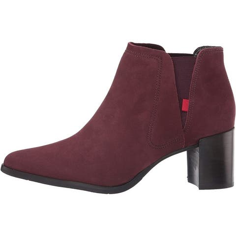 MARC JOSEPH NEW YORK Women's Leather Block Heel with Elastic Detail Amsterdam Bootie Ankle Boot