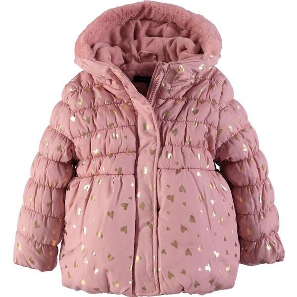 c78abd6ed84 Tahari Girls 2T-4T Fur Heart Foil Jacket - Grey