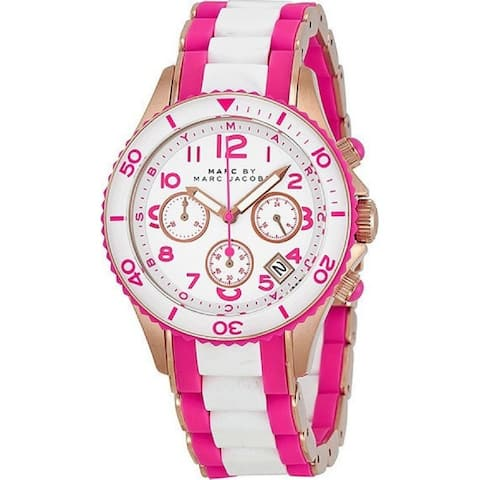 Marc Jacobs Women's MBM2593 'Rock' Chronograph Pink and White Stainless steel and Silicone Watch