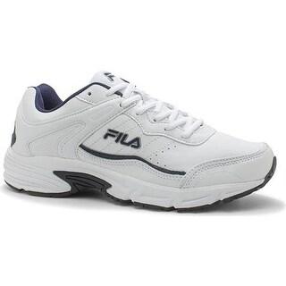Fila Men's Memory Sportland Running Shoe White/Fila Navy/Metallic Silver
