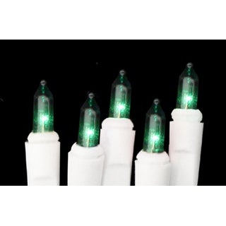 Set of 10 Battery Operated Green Mini Christmas Lights - White Wire