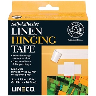 "Self-Adhesive Linen Hinging Tape-White 1.25""X35'"