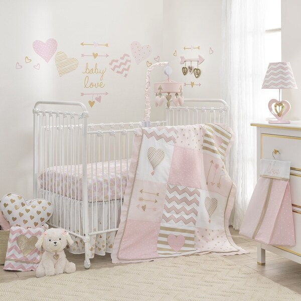 shop lambs ivy baby love metallic gold pink white hearts stripes and chevrons 6 piece nursery. Black Bedroom Furniture Sets. Home Design Ideas