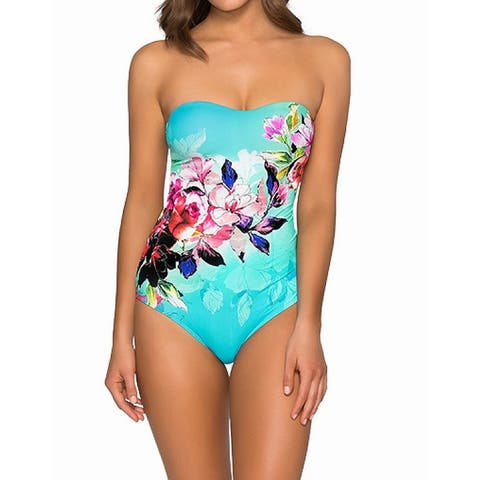 Jets by Jessika Allen Blue Womens Size 8 Floral One-Piece Swimsuit