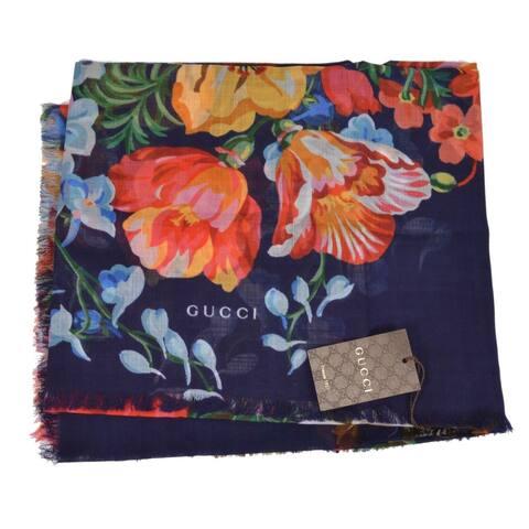 "Gucci 544616 Navy Blue Josephinee Wool Blooms Lightweight Scarf Wrap - 47"" x 47"""