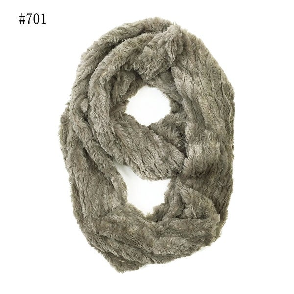 "Super Soft Faux Synthetic Fur Warm Infinity Loop Circle Scarf - Grey - one size: 6"" wide, 62"" around"