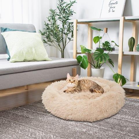 Pet Dog Cat Calming Bed Warm Soft Plush Round Pets Mat