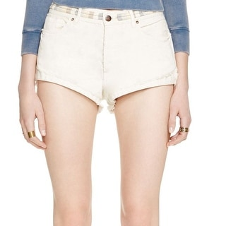Free People NEW White Ivory Women's Size 29 Embroidered Denim Shorts