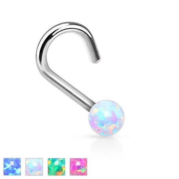 Opal Ball 316L Surgical Steel Nose Screw (Sold Individually)