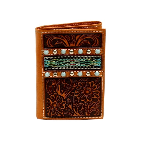Ariat Western Wallet Men Trifold Aztec Ribbon Inlay Studs Tan - One size