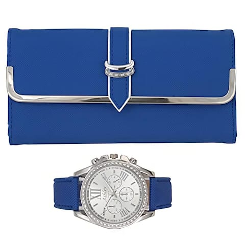 Women's Colorful Watch with Perfect Colorful Wallet which Holds Credit Cards, Cash & Change Organized Gift Set  ST10038