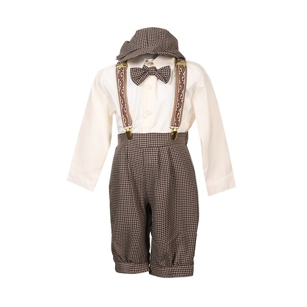 Rafael Collection Little Boys Dark Taupe 5 Pcs Suspender Hat Trendy Outfit. Opens flyout.