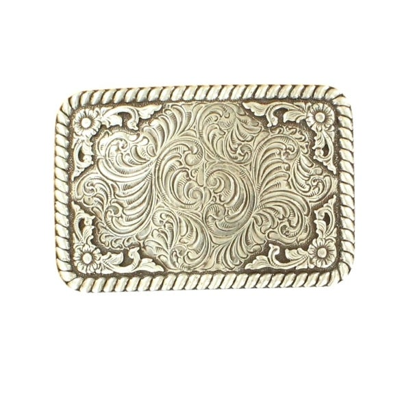 Nocona Western Belt Buckle Mens Rectangle Scroll Rope Silver - 3 1/2 x 2 1/2