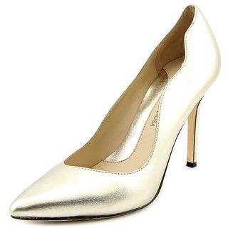 Carolinna Espinosa Sumpter Women Pointed Toe Leather Gold Heels