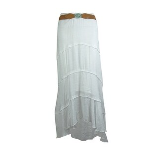 BCX Women's Belted Hi-Low Skirt - off- white