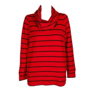 Lauren Ralph Lauren Lipstick Red Black Striped Funnel-Neck Sweater   M