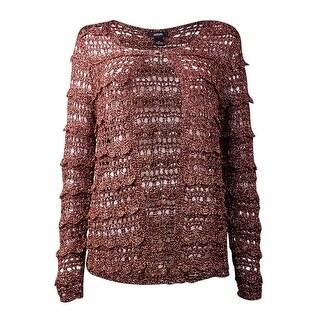 Alfani Women's Crochet Open Stitch Cardigan Sweater