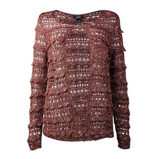 Alfani Women's Crochet Open Stitch Cardigan Sweater - copper metallic