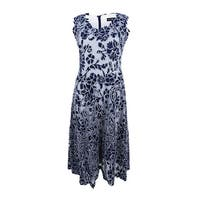 Betsy & Adam Women's Embroidered A-line Dress - NAVY/WHITE