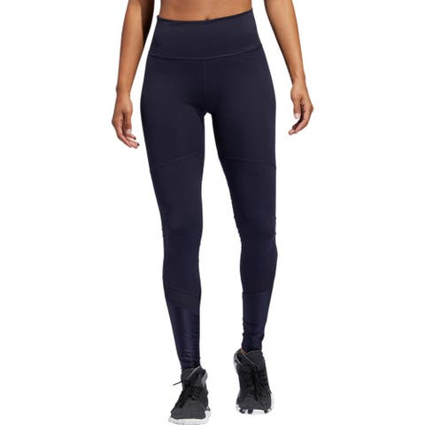 Adidas Womens Believe This High-Rise Shine Athletic Leggings Running Fitness - Navy - XXS
