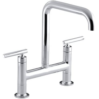 Kohler K-7547-4  Purist Double Handle Bridge Kitchen Faucet with Rotating Spout
