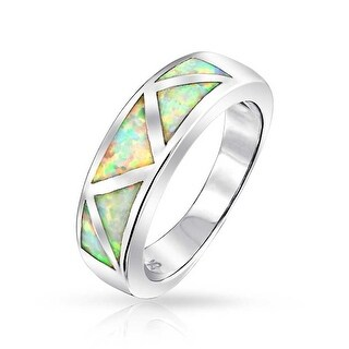 925 Silver Lab Created White Opal October Birthstone Inlay Band Ring