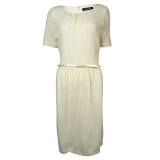 Ellen Tracy Women's Belted Metallic Knit Sweater Dress - Ivory
