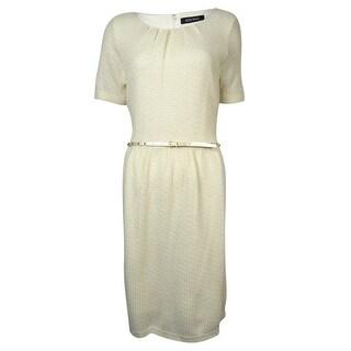 Ellen Tracy Women's Belted Metallic Knit Sweater Dress - Ivory