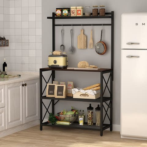 Kitchen Baker's Rack with 5 Hooks, Modern Industrial Microwave Oven Stand Rack Organizer