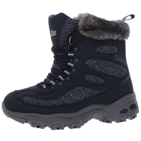 Skechers Womens D'Lites-Bomb Cyclone Winter Boots Faux Leather Waterproof - Navy - 6 Wide (C,D,W)