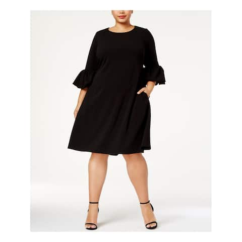 BETSY & ADAM Womens Black Bell Sleeve Jewel Neck Knee Length A-Line Cocktail Dress Plus Size: 14W