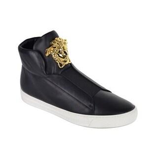 Versace Women Black Medusa Leather High Top Palazzo Sneakers