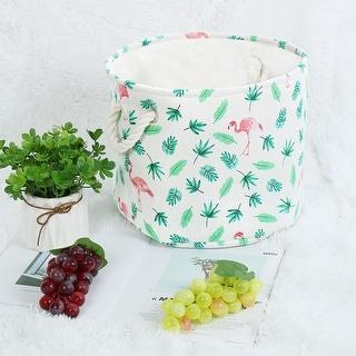 "Linen Fabric Storage Bin Toy Box Basket Organizer - Red Flamingo - 13"" x 9.8"""