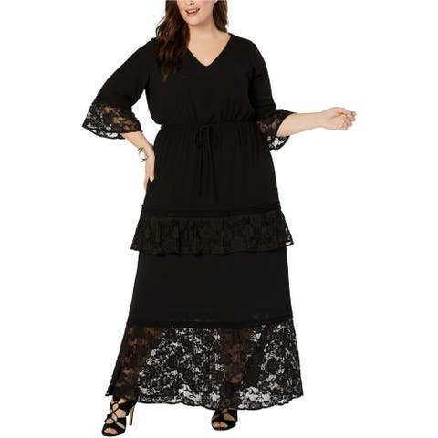 NY Collection Womens Lace-Trim Maxi Dress, Black, 3X