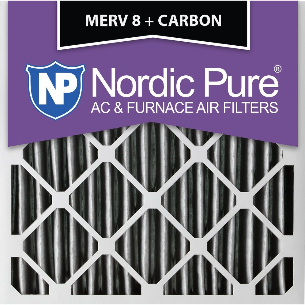 Nordic Pure 16x20x1 MERV 8 Pure Carbon Pleated Odor Reduction AC Furnace Air Filters 1 Pack