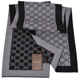 Gucci 421068 Black and Grey Wool GG Guccissima Wool Scarf Muffler