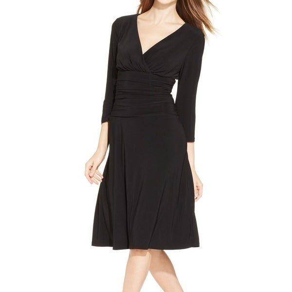 Shop Nine West New Black Womens Size 16 Ruched Surplice A Line