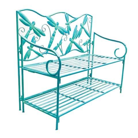 Dragonfly Metal Garden Storage Bench - 43.75x36.25x20
