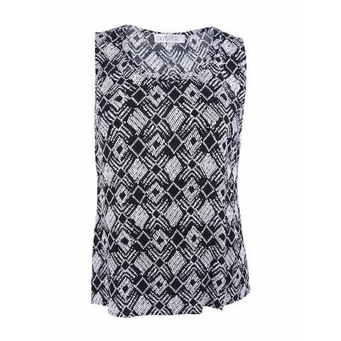 Kasper Women's Plus Size Tribal Knit Scoop Neck Tank Blouse - Black/White