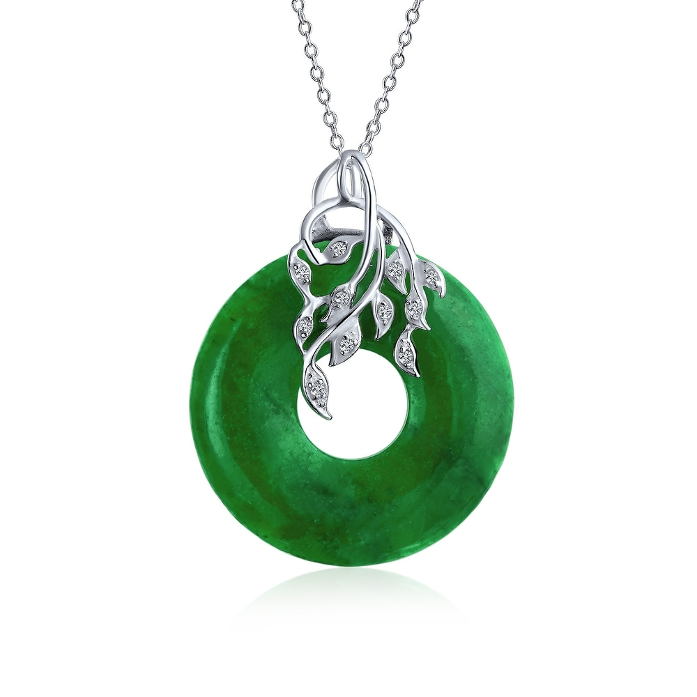 Natural Emerald Green Jade 18K Silver Plated Elephant Pendant Necklace Chain